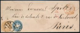 """O 1866 Levél Párizsba 10kr + 15kr Bérmentesítéssel """"PEST Abend"""" - Zonder Classificatie"""