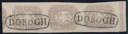 """O 1863 Hírlapbélyeg Függőleges ívszéli Hármascsík Szegélyléc Lenyomattal Luxus """"DOROGH"""" Bélyegzésekkel, Rendkívüli Darab - Zonder Classificatie"""