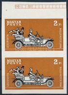 (*) 1970 Autó (I.) Az Autó Története 2Ft ívszéli Vágott Pár Piros, Sárga, és Lila Színnyomat és Az Arany Keret Nélkül (6 - Zonder Classificatie