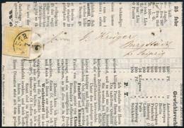 """1858 1kr MP III Németországba Küldött Nyomtatványon """"PESTH"""" - Burgstadt Certificate: Rismondo (58.000) - Zonder Classificatie"""