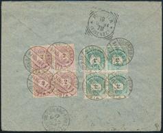1894 Ajánlott Levél Olaszországba Színes Számú 2kr és 3kr Négyestömbökkel Bérmentesítve - Zonder Classificatie