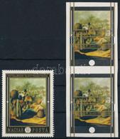 (*) 1969 Festmények (VII.) 60f Vágott Pár Eltolódott Arany Színnyomattal + Támpéldány - Zonder Classificatie