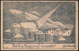 1916 Sokszorosított Karácsonyi Grafikás üdvözlőlap Megiratlan Tábori Lap Hátoldalán Sign: Halub - Zonder Classificatie