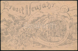 1918 A 19. Tábori Postaigazgatóság, Scutari Sokszorosított újévi Grafikás üdvözlőlapja Megiratlan Tábori Lap Hátoldalán - Zonder Classificatie