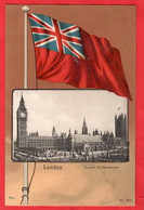 LONDON PATRIOTIC    FLAG     TAX MARK OSTENDE BELGIUM POSTMARKS + LONDON W   Pu 1902 - Houses Of Parliament