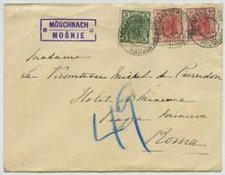 Lettre 1906 De Möschnach (Mosnje Slovénie Slovenja) Pour Rome. Roma Italia. Comtesse Michel De Pierredon. - Cartas