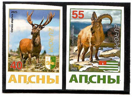 Georgia / Abkhazia . EUROPA 2021.  Endangered National Wildlife (Deers, Mountain Goats,). Imperf. 2v:40,55 - Georgia