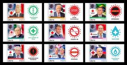 Liberia 2021 Mih. 8287/95 State Leaders Facing COVID-19 Coronavirus (with Labels) MNH ** - Liberia