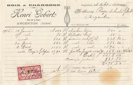 36 ARGENTON FACTURE 1926 FABRIQUE BOIS ET CHARBONS INDUSTRIE TIMBRE YT 121 MERSON - 1900 – 1949