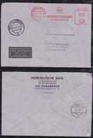 BRD Bund 1955 55Pf Luftpost Brief AFS Meter Freistempler Norddeutsche Bank Osnabrück Nach Wien Austria - Storia Postale