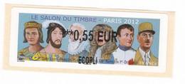 ATM LISA France Vignette Affranchissement Salon Du Timbre Paris 2012 0,55€ François 1er Napoleon De Gaulle - 2010-... Illustrated Franking Labels