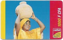 Gabon - Celtel - Woman With Basket (Reverse #1) - No Expiry, GSM Refill 1.000FCFA, Used - Gabon