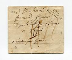 !!! DEPT CONQUIS, 129 BOUCHES DU WESER, MARQUE POSTALE DE RETHEM SUR LETTRE DE 1812 AVEC DEBOURSE DE PONTARLIER - 1792-1815: Veroverde Departementen
