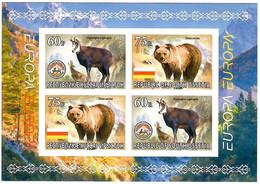 Georgia / South Ossetia .EUROPA 2021.Endangered National Wildlife (Bears,Mountain Goats,Mountains).Imperf. S/S - Georgia