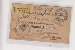 AUSTRIA, CZECH REPUBLIC 1909 BRNO BRUNN Registered Military Postcard To Osijek Croatia - Cartas
