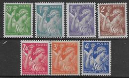 Francia France 1944 Iris 7val YT N.649-651,653-656 MH * - 1939-44 Iris