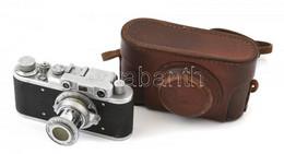 Zorkij Szovjet Távmérős Fényképezőgép, Industar-22 50 Mm F/3,5 Objektívvel, Eredeti Bőr Tokjában / Vintage Russian Range - Macchine Fotografiche