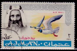 Ajman, 1967, Airmail, Sheik Rashid Bin Humaid Al Naimi, Overprint New Currency, 3R, Used - Ajman