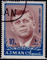 Ajman, 1967, Memorial Of John F. Kennedy, New Currency, 10/10R, Used - Ajman