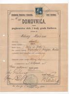 1915. CROATIA,KINGDOM OF CROATIA AND SLAVONIA,KARLOVAC,BIRTH CERTIFICATE,HUNGARY,30 FILLER REVENUE STAMP - Croatia