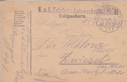 Feldpostkarte K.u.k. Fahrbare Autowerkstätte Nr. 42 - Nach Zwiesel - 1918 (56143) - Cartas