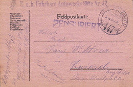 Feldpostkarte K.u.k. Fahrbare Autowerkstätte Nr. 42 - Nach Zwiesel -  1918 (56145) - Cartas
