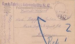 Feldpostkarte K.u.k. Fahrbare Autowerkstätte Nr. 42 - 1918 (56147) - Cartas