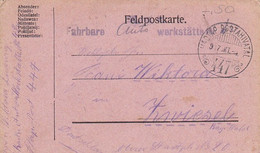 Feldpostkarte - K.u.k. Fahrbare Autowerkstätte Nr. 42 - Provisor. Stempel - Nach Zwiesel - 1917 (56154) - Cartas