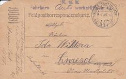 Feldpostkarte - K.u.k. Fahrbare Autowerkstätte Nr. 42 - Provisor. Stempel - Nach Zwiesel - 1917 (56155) - Cartas
