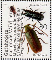 2021 Germany Europa CEPT Endengered Species Insects 1v MNH** MiNr. 3605 Mycetoma Suturale Ceruchus Chrysomelinus - Unused Stamps