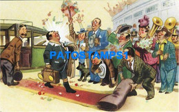 160454 ARGENTINA ART ARTE HUMOR SOCCER FUTBOL THE REFEREE THE RED CARPET POSTAL POSTCARD - Argentine