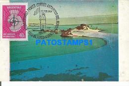 160458 ARGENTINA ANTARTIDA ANTARCTICA ISLA MEDIA LUNA DESTACAMENTO NAVAL TTE CAMARA BREAK POSTAL POSTCARD - Argentine