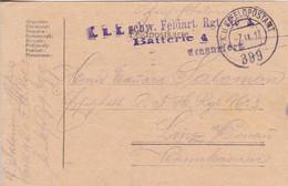 Feldpostkarte K.u.k. Schw. Feldart. Rgt. No. 3 - Nach Linz - 1917 (56158) - Cartas