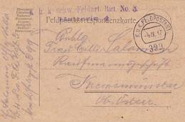 Feldpostkarte K.u.k. Schw. Feldart. Rgt. No. 3 - Nach Kremsmünster - 1917 (56159) - Cartas