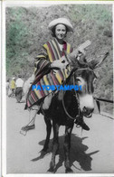 160474 ARGENTINA CORDOBA COSTUMES WOMAN AND DONKEY PHOTO NO POSTAL POSTCARD - Argentine