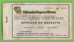Valpaços - Empresa De Camionagem Cabanelas - Autocarro - Bus - Bilhete - Ticket - Lisboa - Vila Real - Portugal - Unclassified