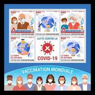 CAR 2021 Mih. 10652/56 Vaccination Against COVID-19 Coronavirus MNH ** - Centrafricaine (République)