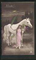 AK Junge Frau Mit Zeichen Des Friedens Und Weissem Pferd - Eventos