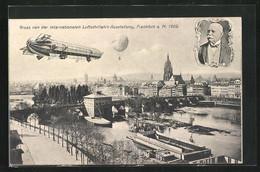 AK Frankfurt A. Main, Internationale Luftschiffahrt-Ausstellung 1909, Zeppelin Und Ballon über Der Stadt - Exhibitions