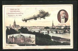 AK Frankfurt A. Main, Internationale Luftschiffahrt-Ausstellung 1909, Panorama, Zeppelin Und Festhalle - Exhibitions