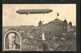 AK Frankfurt A. Main, Internationale Luftschiffahrt-Ausstellung 1909, Zeppelin über Dem Festgelände - Exhibitions