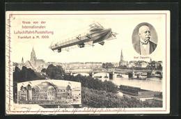 AK Frankfurt A. Main, Internationale Luftschiffahrt-Ausstellung 1909, Panorama, Zeppelin & Festgebäude - Exhibitions