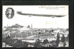 AK Frankfurt A. Main, Internationale Luftschiffahrt-Ausstellung 1909, Festgelände Mit Zeppelin - Exhibitions