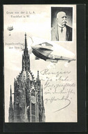 AK Frankfurt A.M., Zeppelin Umfliegt Den Dom Zur Ausstellung - Exhibitions