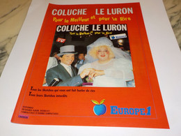 ANCIENNE PUBLICITE COLUCHE ET LE LURON AVEC EUROPE 1 1989 - Altri