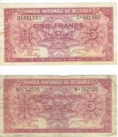 """Lot De 2 Billets """"5 Francs Ou 1 Belga"""" (01/02/1943) - 5 Francs-1 Belga"""