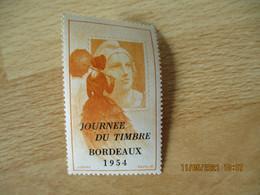Surcharge Journee Du Timbre Bordeaux 1954 Sur Marianne Mazelin Erinnophilie Vignette Timbre - Briefmarkenmessen