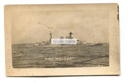 HMS Malaya, British Battleship - Old Real Photo Postcard - Oorlog
