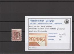 SBZ 1945 PLATTENFEHLER Nr A195 F80 Postfrisch (409677) - Soviet Zone