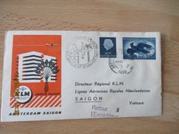 1959 Aviation Premiere Liaison Aerienne  KLM  AMSTERDAM Saigon     1 Er Vol - Aerei
